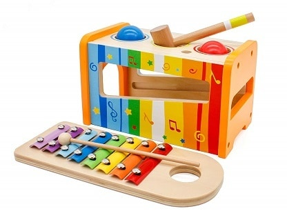 Pidoko Kids Pound Tap Bench with Slide Out Xylophone