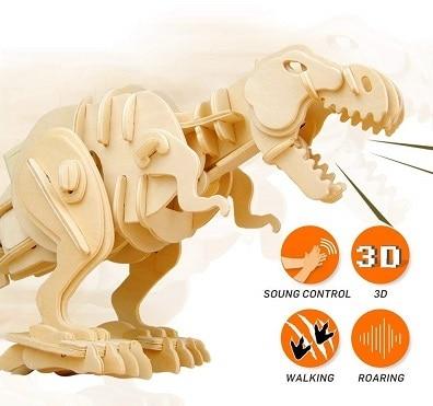 RoboTime 3D Wooden T Rex Dinosaur Puzzle