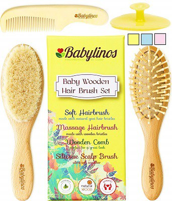 4 Piece Baby Hair Brush Set with Natural Hair Products