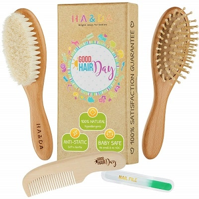4 piece natural baby wooden hair brush set free nail file babys grooming kit