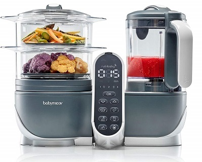 Babymoov Duo Meal Station 5 in 1 Food Processor with Steam Cooker