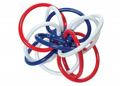 Manhattan Toy Red White and Blue Winkel Rattle and Teether Baby Toy