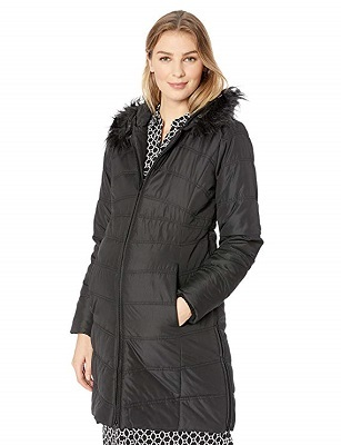 Motherhood Maternity Womens Maternity Quilted Puffer Coat with Attached Hood and Faux Fur Trim