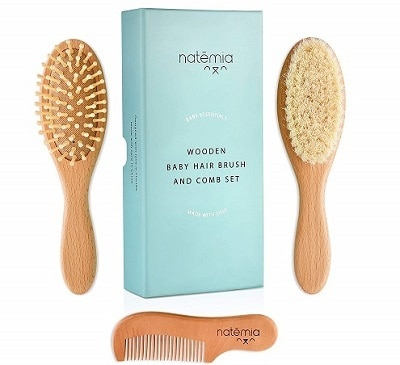 Natemia Premium Wooden Baby Hair Brush and Comb Set Natural Soft Bristles Ideal for Cradle Cap Perfect Baby Registry Gift