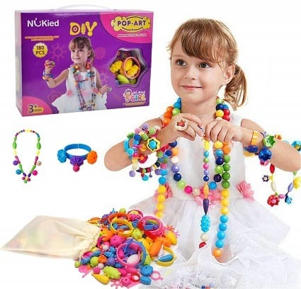 Snap Pop Beads Girls Toy Happytime 180 Pieces DIY Jewelry Kit Fashion Fun