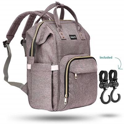 Zuzuro Diaper Mommy Bag Waterproof Backpack w Large Capacity n Multiple Pockets for Organization