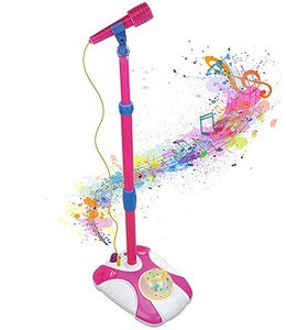 IQ Toys Karaoke Disco Light Adjustable Mic & Speaker Stand